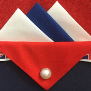 White, Blue and Red Pocket Hankie With Red Flap and Pin